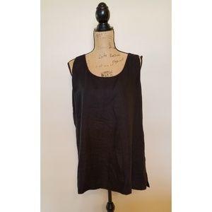 Peter Nygard Plus Size Black Linen Sleeveless Top